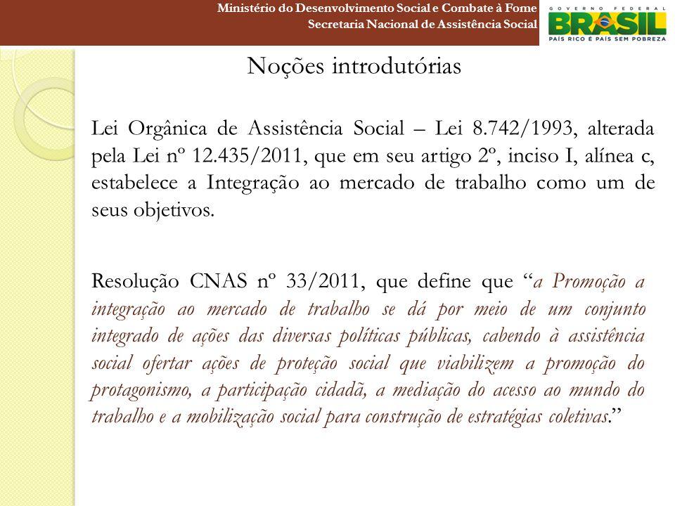 Noções introdutórias Lei Orgânica de Assistência Social – Lei 8.742/1993, alterada pela Lei nº 12.435/2011, que em seu artigo 2º, inciso I, alínea c,