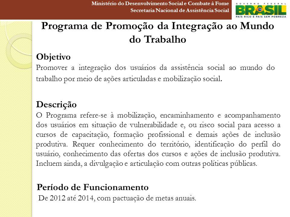 Programa de Promoção da Integração ao Mundo do Trabalho Objetivo Promover a integração dos usuários da assistência social ao mundo do trabalho por mei
