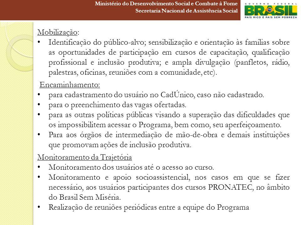 Mobilização: Identificação do público-alvo; sensibilização e orientação às famílias sobre as oportunidades de participação em cursos de capacitação, q