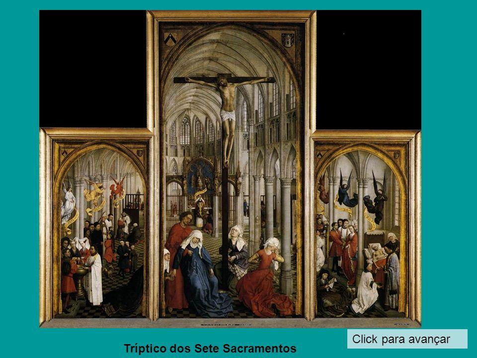 Click para avançar Detalhe de A crucifixão (S. João Evangelista e a Virgem Maria parecem copiados para o quadro da Descida)