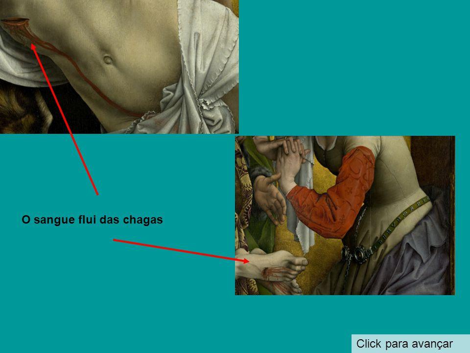 Click para avançar O corpo de Cristo A caveira representa o pecado de Adão.Cristo é a redenção dessa falta. O sangue escorre pelo corpo e pela frente