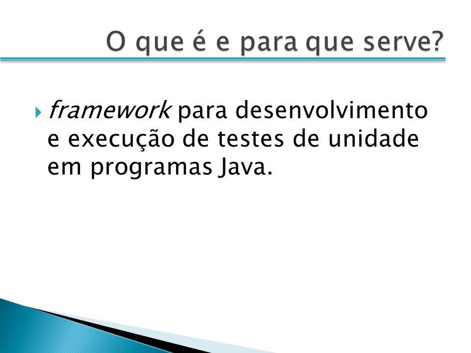 framework para desenvolvimento e execução de testes de unidade em programas Java.