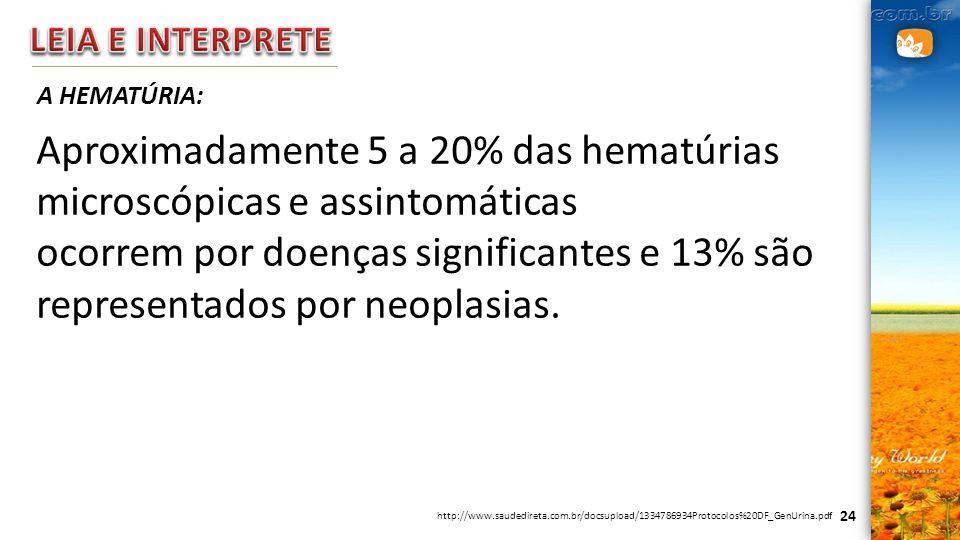 24 A HEMATÚRIA: Aproximadamente 5 a 20% das hematúrias microscópicas e assintomáticas ocorrem por doenças significantes e 13% são representados por ne
