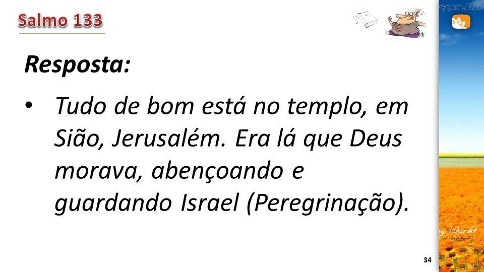 34 Resposta: Tudo de bom está no templo, em Sião, Jerusalém. Era lá que Deus morava, abençoando e guardando Israel (Peregrinação).