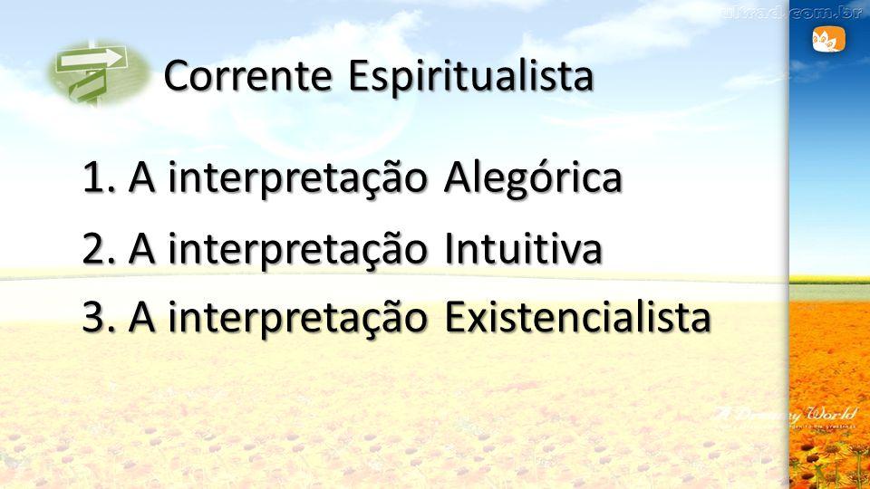 Corrente Espiritualista 1. A interpretação Alegórica 2. A interpretação Intuitiva 3. A interpretação Existencialista