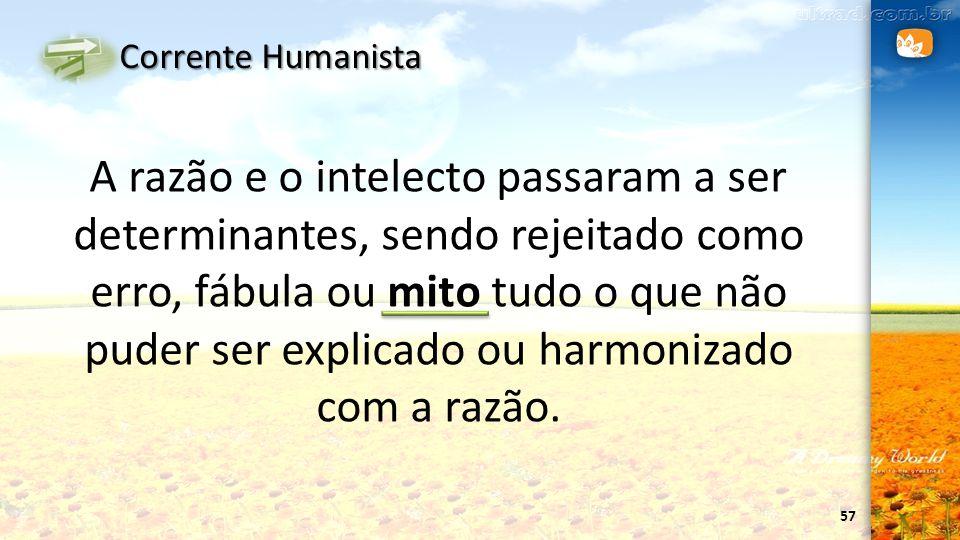 57 Corrente Humanista A razão e o intelecto passaram a ser determinantes, sendo rejeitado como erro, fábula ou mito tudo o que não puder ser explicado