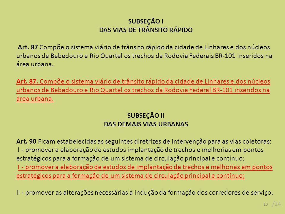 SUBSEÇÃO I DAS VIAS DE TRÂNSITO RÁPIDO Art. 87 Compõe o sistema viário de trânsito rápido da cidade de Linhares e dos núcleos urbanos de Bebedouro e R