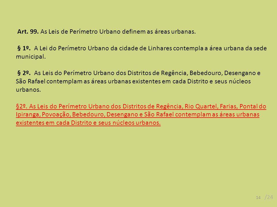 Art. 99. As Leis de Perímetro Urbano definem as áreas urbanas. § 1º. A Lei do Perímetro Urbano da cidade de Linhares contempla a área urbana da sede m