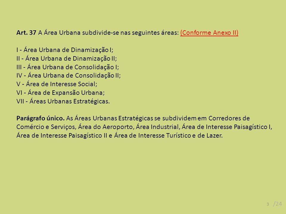 Art. 37 A Área Urbana subdivide-se nas seguintes áreas: (Conforme Anexo II) I - Área Urbana de Dinamização I; II - Área Urbana de Dinamização II; III