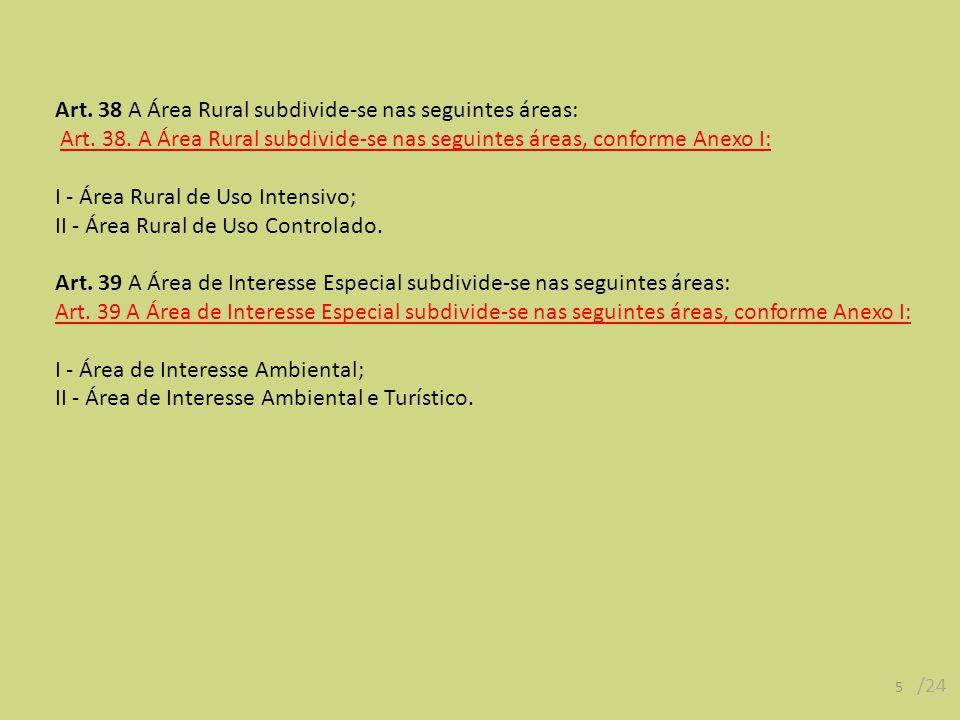 Art. 38 A Área Rural subdivide-se nas seguintes áreas: Art. 38. A Área Rural subdivide-se nas seguintes áreas, conforme Anexo I: I - Área Rural de Uso