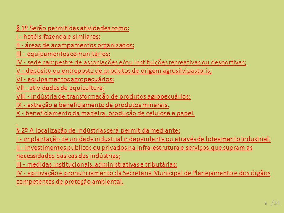 § 1º Serão permitidas atividades como: I - hotéis-fazenda e similares; II - áreas de acampamentos organizados; III - equipamentos comunitários; IV - s