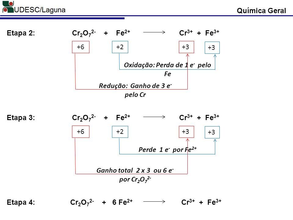 Química Geral Cr 2 O 7 2- + Fe 2+ Cr 3+ + Fe 3+ Etapa 2: +6 +2+3 Redução: Ganho de 3 e - pelo Cr Oxidação: Perda de 1 e - pelo Fe Cr 2 O 7 2- + Fe 2+