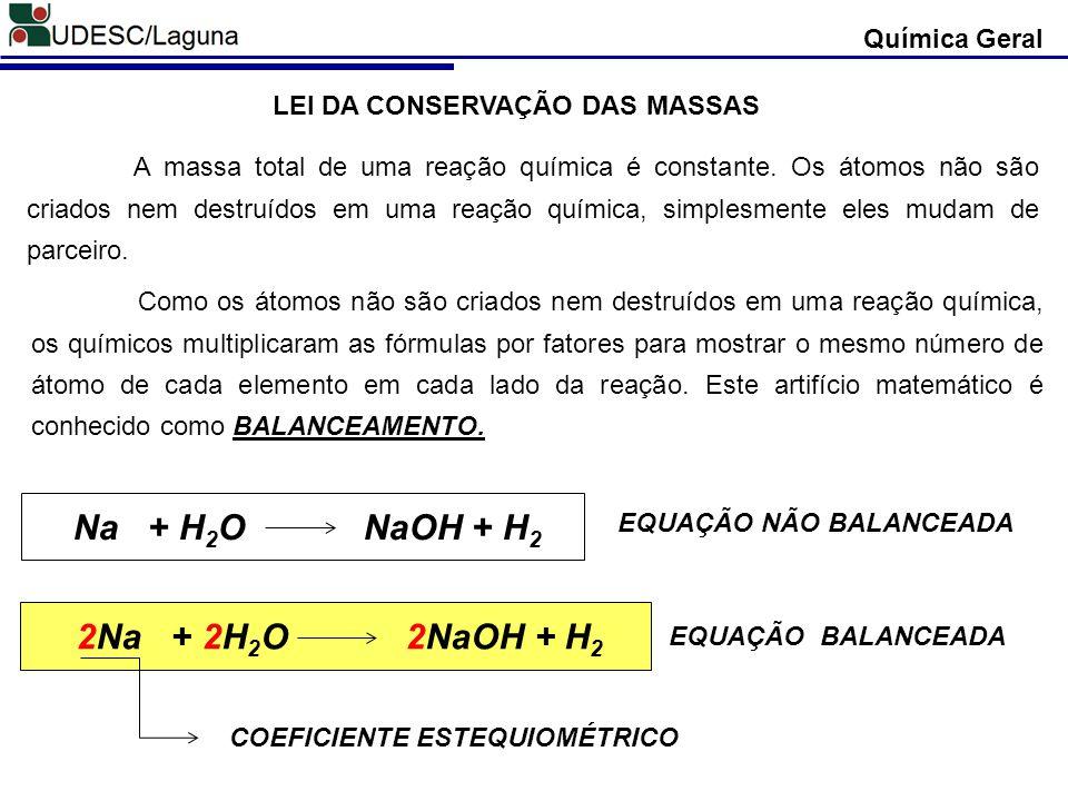 Química Geral Em uma equação química representa-se os estados físicos de cada reagente e produto.