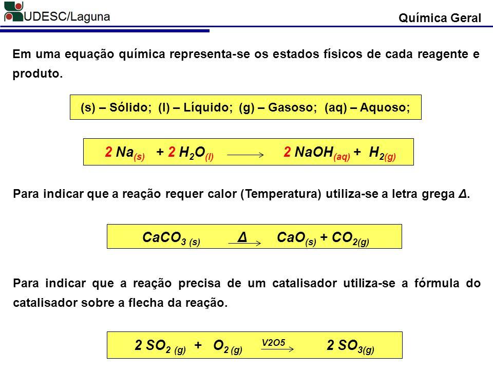 Química Geral BALANCEAMENTO Uma equação química balanceada simboliza as mudanças qualitativas e quantitativas que ocorrem em uma reação química.