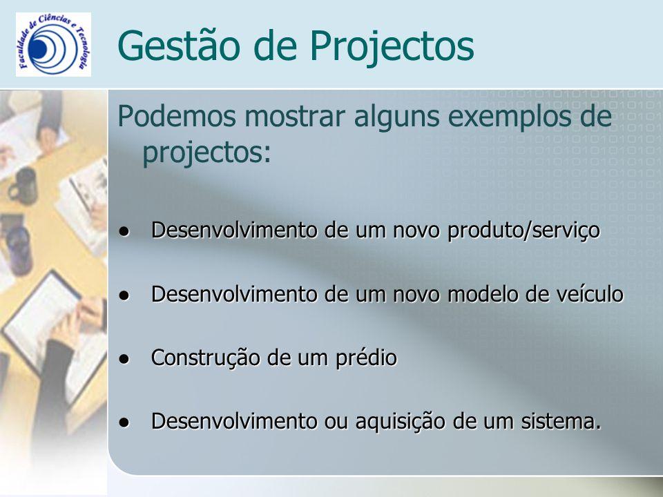 Podemos mostrar alguns exemplos de projectos: Desenvolvimento de um novo produto/serviço Desenvolvimento de um novo produto/serviço Desenvolvimento de um novo modelo de veículo Desenvolvimento de um novo modelo de veículo Construção de um prédio Construção de um prédio Desenvolvimento ou aquisição de um sistema.