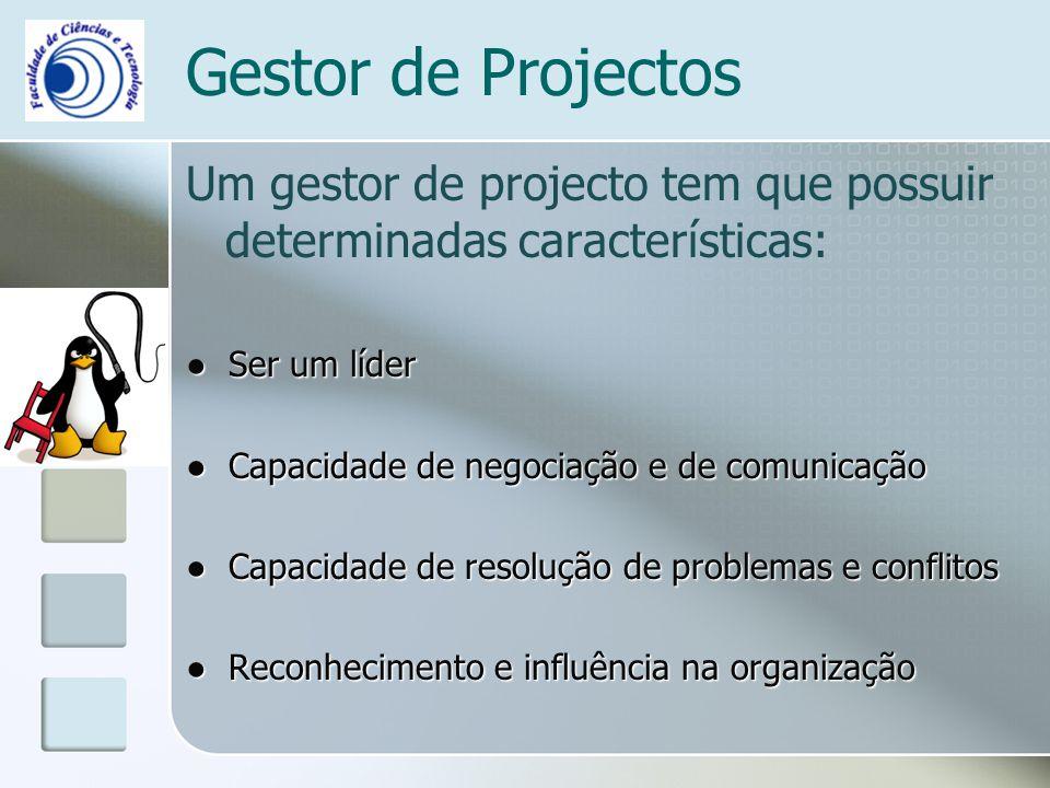 Gestor de Projectos Um gestor de projecto tem que possuir determinadas características: Ser um líder Ser um líder Capacidade de negociação e de comuni