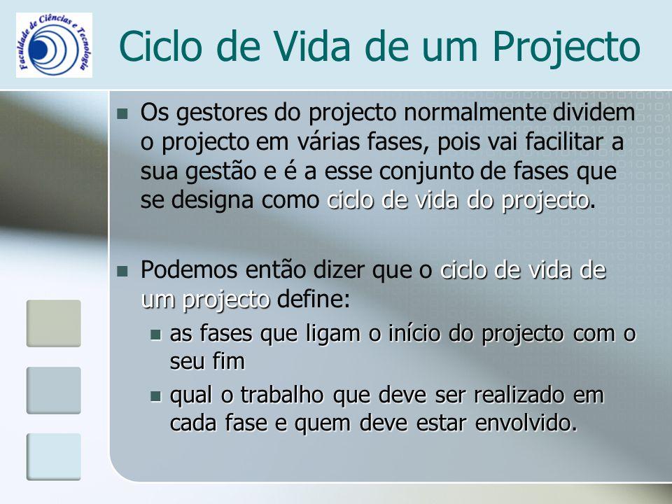 Ciclo de Vida de um Projecto ciclo de vida do projecto Os gestores do projecto normalmente dividem o projecto em várias fases, pois vai facilitar a su