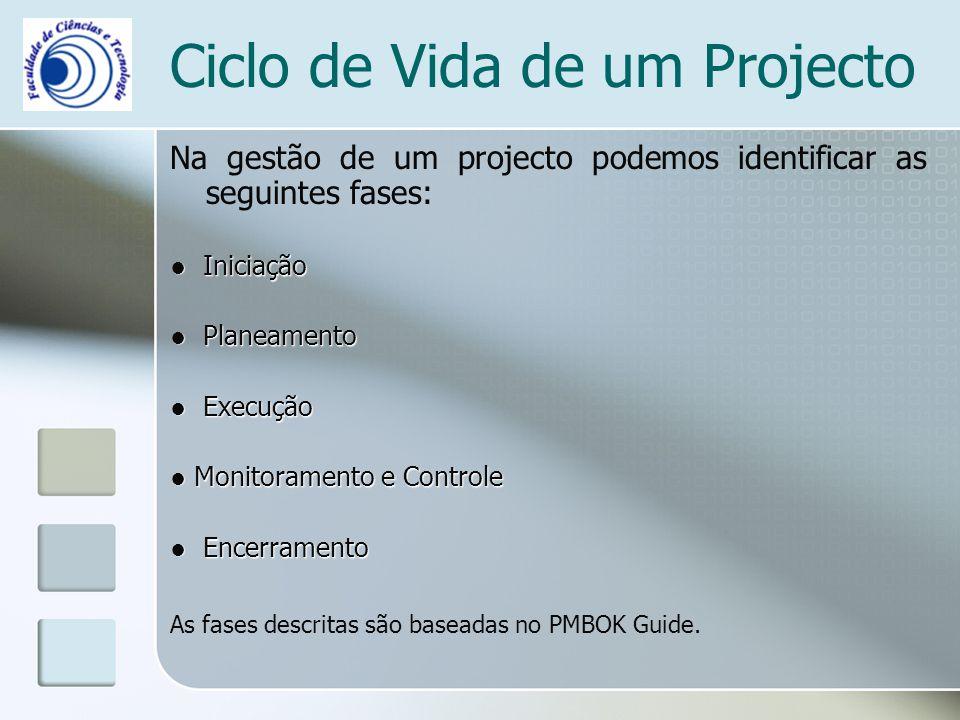 Ciclo de Vida de um Projecto Na gestão de um projecto podemos identificar as seguintes fases: Iniciação Iniciação Planeamento Planeamento Execução Exe