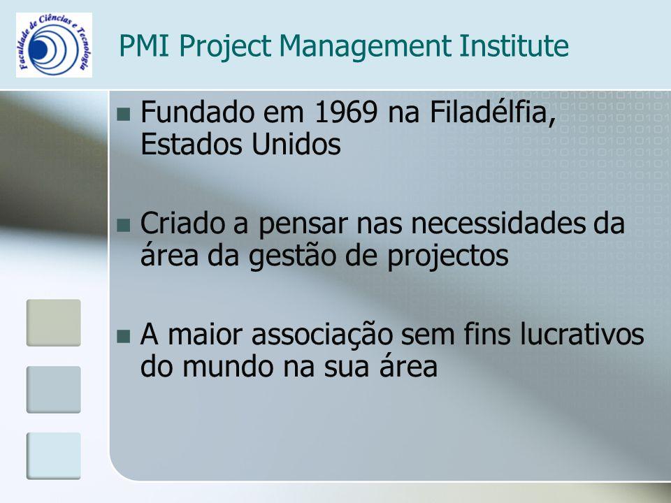 PMI Project Management Institute Fundado em 1969 na Filadélfia, Estados Unidos Criado a pensar nas necessidades da área da gestão de projectos A maior