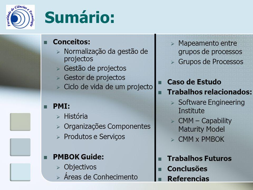 Sumário: Conceitos: Normalização da gestão de projectos Gestão de projectos Gestor de projectos Ciclo de vida de um projecto PMI: História Organizaçõe
