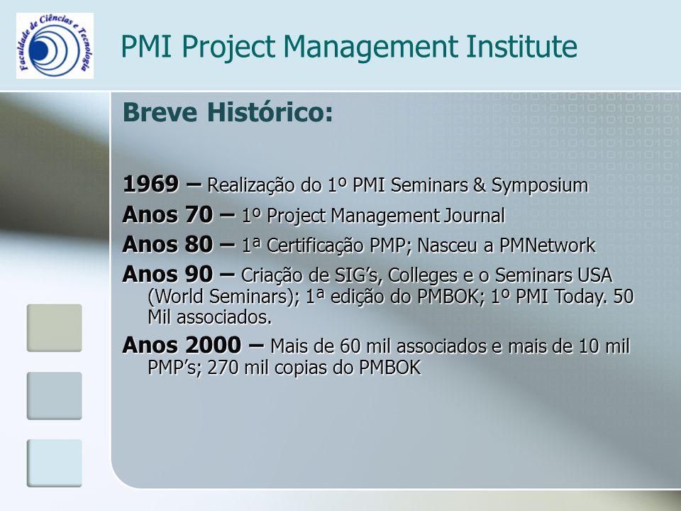 PMI Project Management Institute Breve Histórico: 1969 – Realização do 1º PMI Seminars & Symposium Anos 70 – 1º Project Management Journal Anos 80 – 1