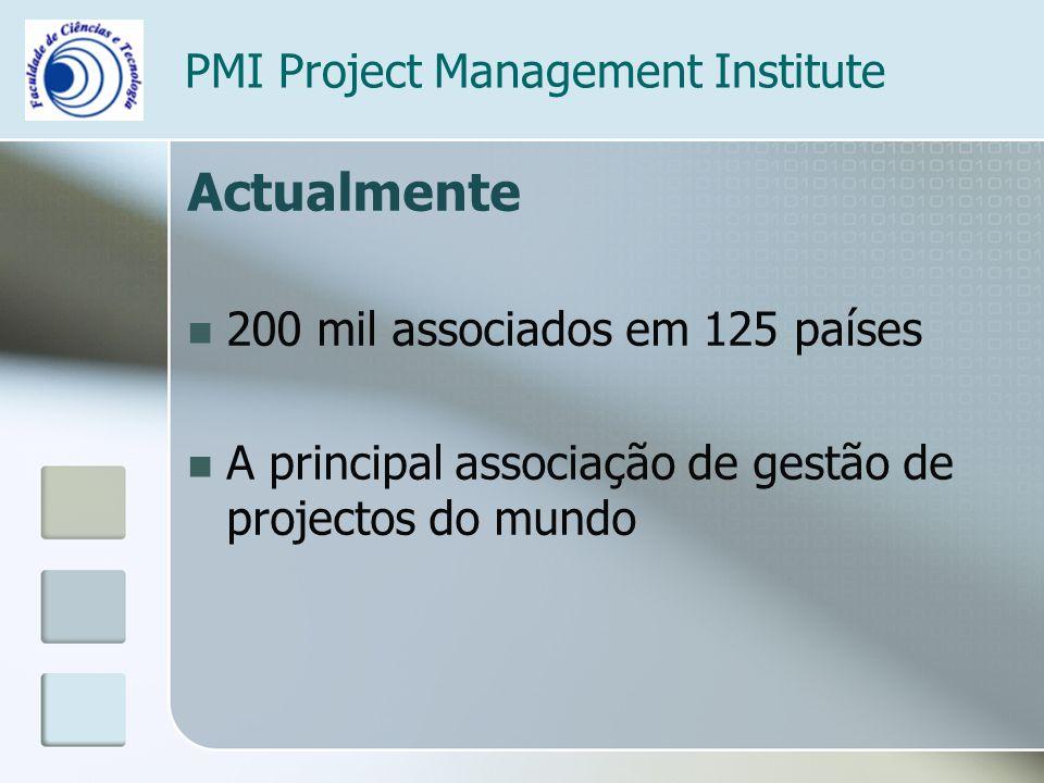 PMI Project Management Institute Actualmente 200 mil associados em 125 países A principal associação de gestão de projectos do mundo