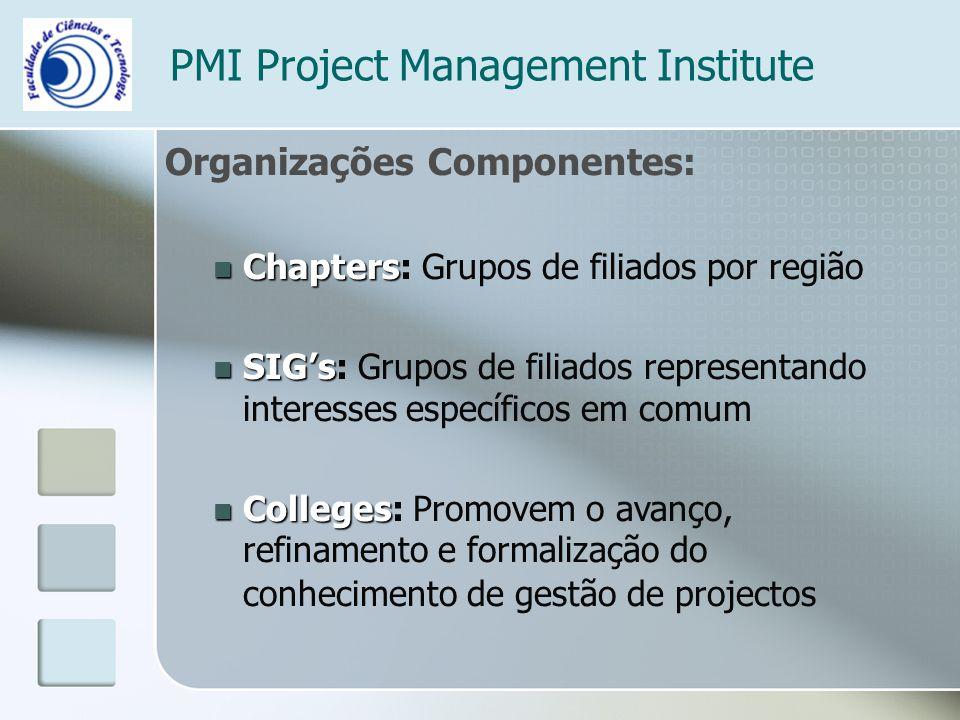 PMI Project Management Institute Organizações Componentes: Chapters Chapters: Grupos de filiados por região SIGs SIGs: Grupos de filiados representand