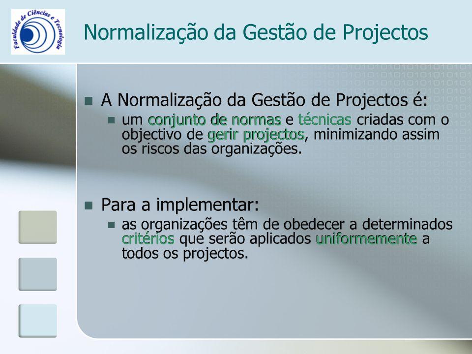Normalização da Gestão de Projectos A Normalização da Gestão de Projectos é: um conjunto de normas e técnicas criadas com o objectivo de gerir project