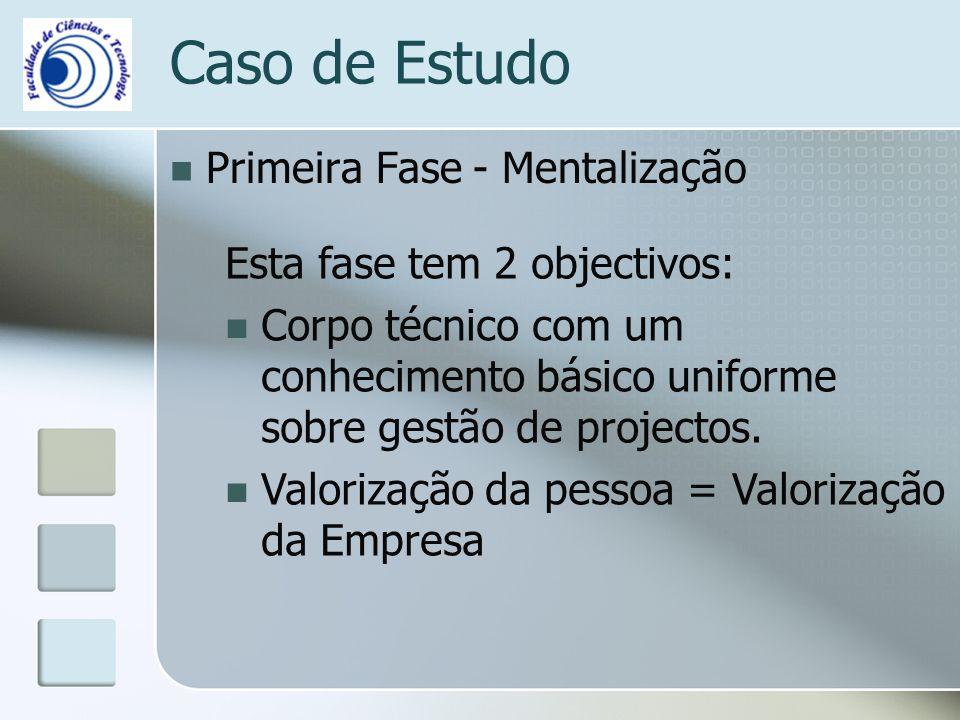 Primeira Fase - Mentalização Caso de Estudo Esta fase tem 2 objectivos: Corpo técnico com um conhecimento básico uniforme sobre gestão de projectos. V