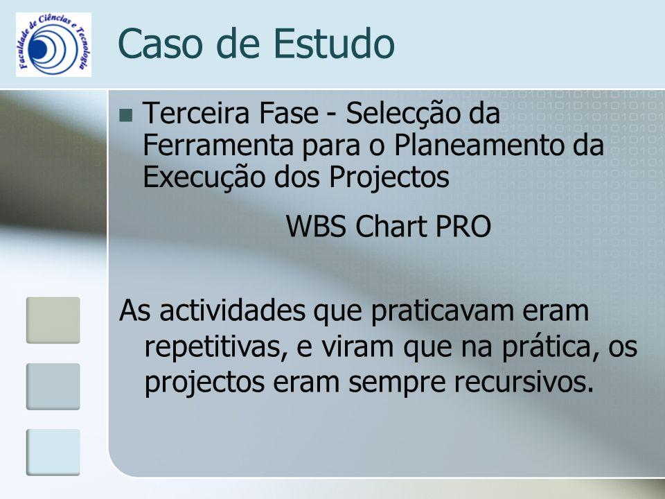 Terceira Fase - Selecção da Ferramenta para o Planeamento da Execução dos Projectos Caso de Estudo WBS Chart PRO As actividades que praticavam eram repetitivas, e viram que na prática, os projectos eram sempre recursivos.