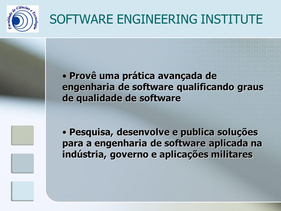 SOFTWARE ENGINEERING INSTITUTE Provê uma prática avançada de engenharia de software qualificando graus de qualidade de software Pesquisa, desenvolve e