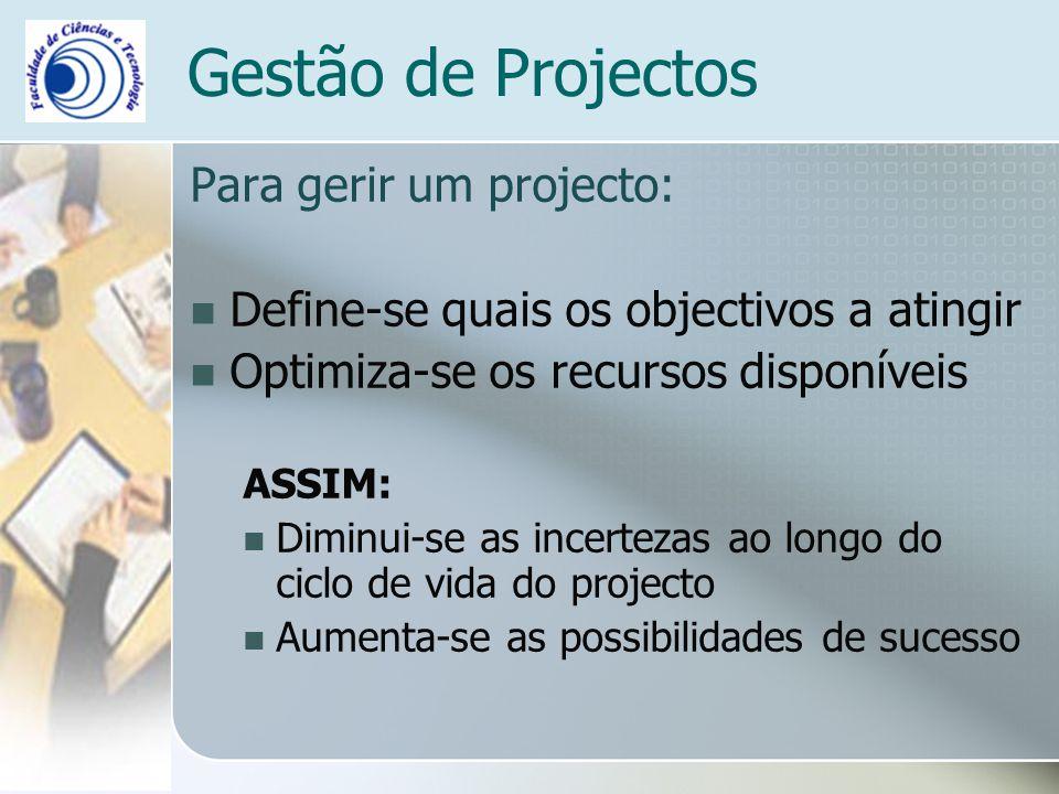 Gestão de Projectos Para gerir um projecto: Define-se quais os objectivos a atingir Optimiza-se os recursos disponíveis ASSIM: Diminui-se as incerteza