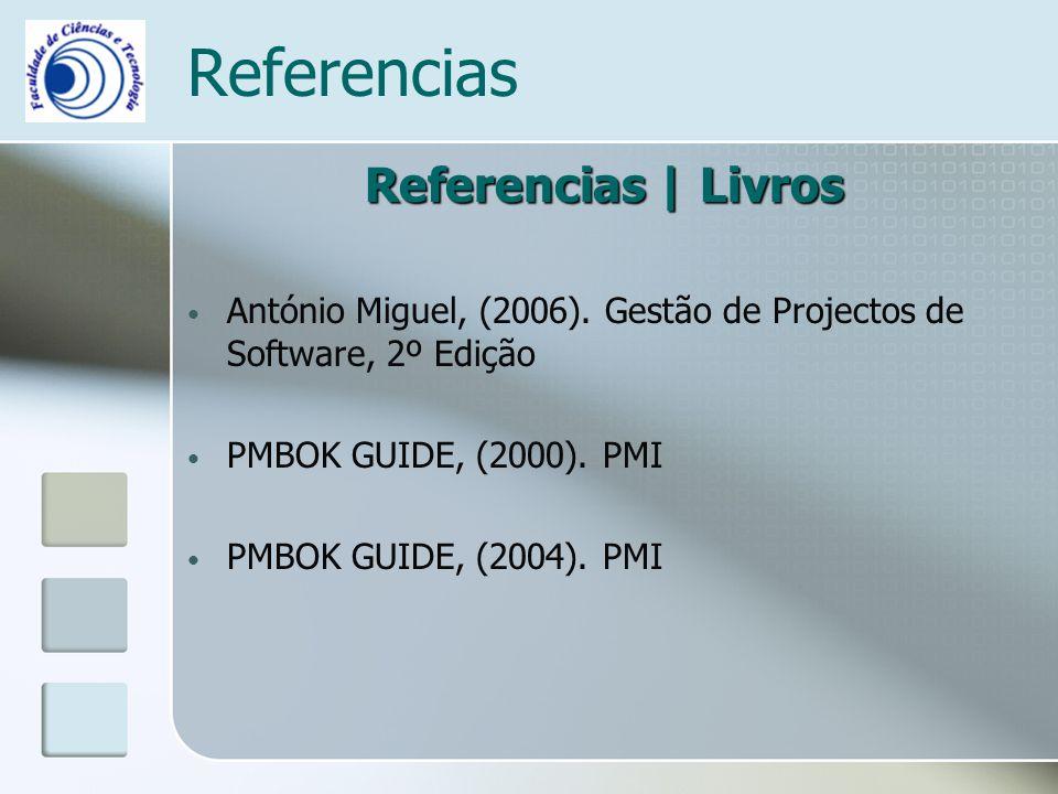 Referencias Referencias | Livros António Miguel, (2006). Gestão de Projectos de Software, 2º Edição PMBOK GUIDE, (2000). PMI PMBOK GUIDE, (2004). PMI