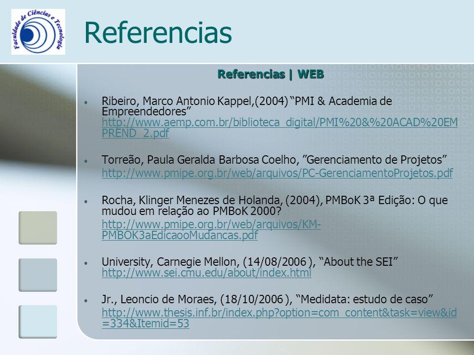 Referencias Referencias | WEB Ribeiro, Marco Antonio Kappel,(2004) PMI & Academia de Empreendedores http://www.aemp.com.br/biblioteca_digital/PMI%20&%20ACAD%20EM PREND_2.pdf http://www.aemp.com.br/biblioteca_digital/PMI%20&%20ACAD%20EM PREND_2.pdf Torreão, Paula Geralda Barbosa Coelho, Gerenciamento de Projetos http://www.pmipe.org.br/web/arquivos/PC-GerenciamentoProjetos.pdf Rocha, Klinger Menezes de Holanda, (2004), PMBoK 3ª Edição: O que mudou em relação ao PMBoK 2000.