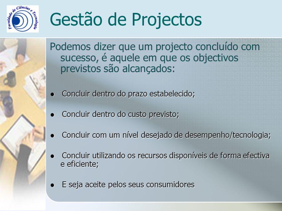 Gestão de Projectos Podemos dizer que um projecto concluído com sucesso, é aquele em que os objectivos previstos são alcançados: Concluir dentro do pr