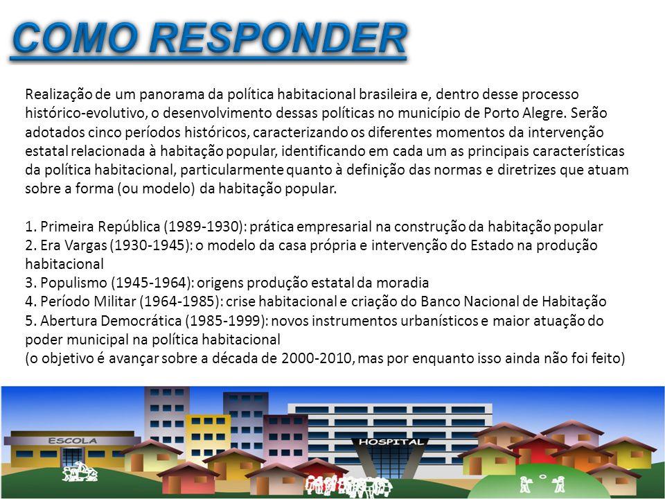 Realização de um panorama da política habitacional brasileira e, dentro desse processo histórico-evolutivo, o desenvolvimento dessas políticas no muni