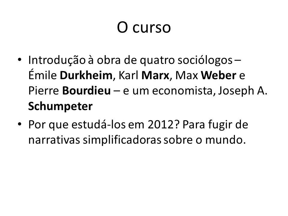 O curso Introdução à obra de quatro sociólogos – Émile Durkheim, Karl Marx, Max Weber e Pierre Bourdieu – e um economista, Joseph A. Schumpeter Por qu