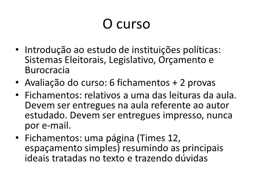 O curso Introdução ao estudo de instituições políticas: Sistemas Eleitorais, Legislativo, Orçamento e Burocracia Avaliação do curso: 6 fichamentos + 2 provas Fichamentos: relativos a uma das leituras da aula.