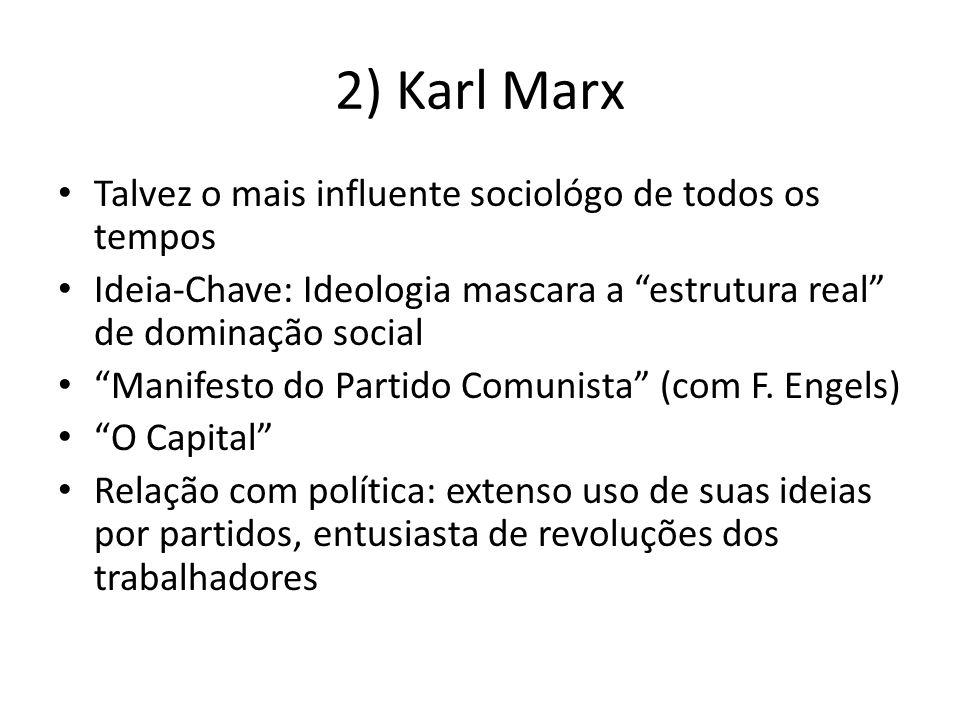 2) Karl Marx Talvez o mais influente sociológo de todos os tempos Ideia-Chave: Ideologia mascara a estrutura real de dominação social Manifesto do Par