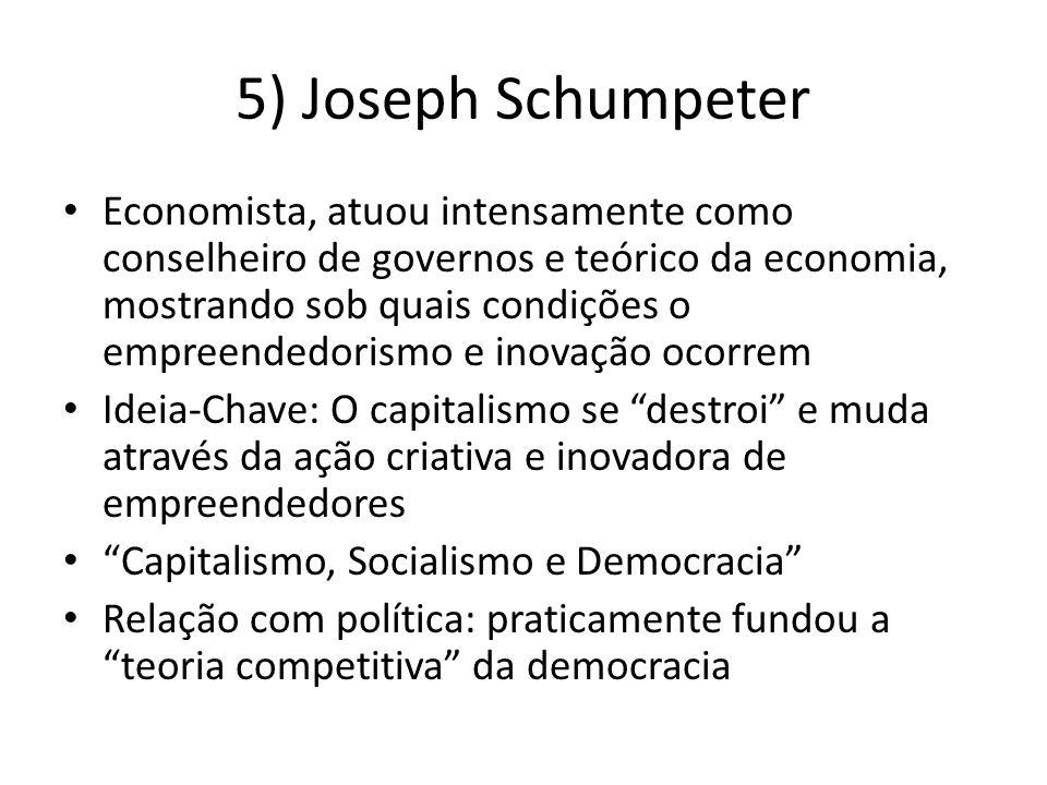 5) Joseph Schumpeter Economista, atuou intensamente como conselheiro de governos e teórico da economia, mostrando sob quais condições o empreendedorismo e inovação ocorrem Ideia-Chave: O capitalismo se destroi e muda através da ação criativa e inovadora de empreendedores Capitalismo, Socialismo e Democracia Relação com política: praticamente fundou a teoria competitiva da democracia