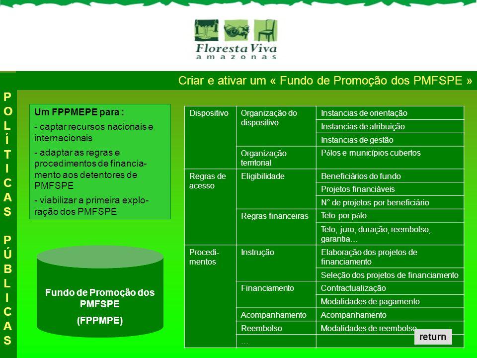Criar e ativar um « Fundo de Promoção dos PMFSPE » POLÍTICAS PÚBLICASPOLÍTICAS PÚBLICAS Fundo de Promoção dos PMFSPE (FPPMPE) Um FPPMEPE para : - capt