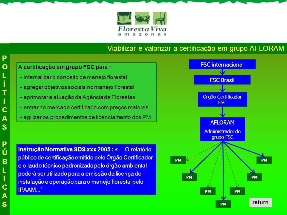Viabilizar e valorizar a certificação em grupo AFLORAM AFLORAM PM Orgão Certificador FSC FSC Brasil FSC internacional A certificação em grupo FSC para