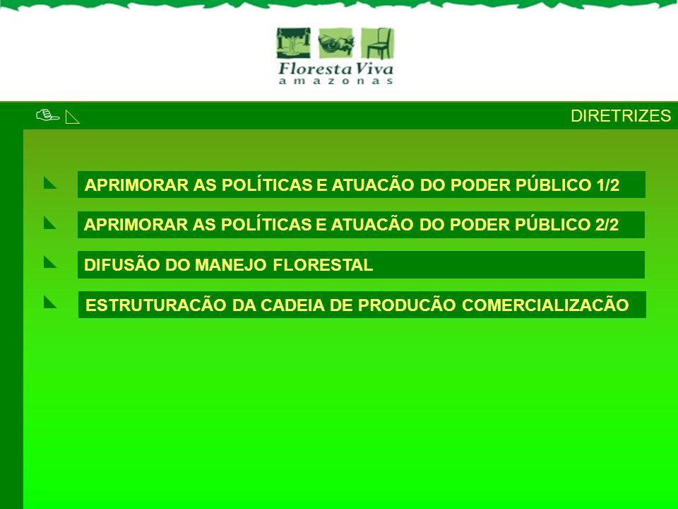APRIMORAR AS POLÍTICAS E ATUACÃO DO PODER PÚBLICO 1/2 DIRETRIZES ESTRUTURACÃO DA CADEIA DE PRODUCÃO COMERCIALIZACÃO DIFUSÃO DO MANEJO FLORESTAL APRIMO