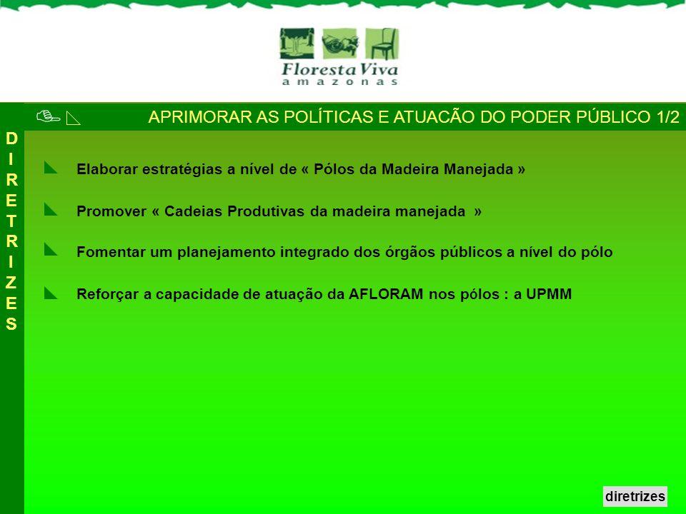 APRIMORAR AS POLÍTICAS E ATUACÃO DO PODER PÚBLICO 1/2 DIRETRIZESDIRETRIZES Reforçar a capacidade de atuação da AFLORAM nos p ó los : a UPMM Promover «