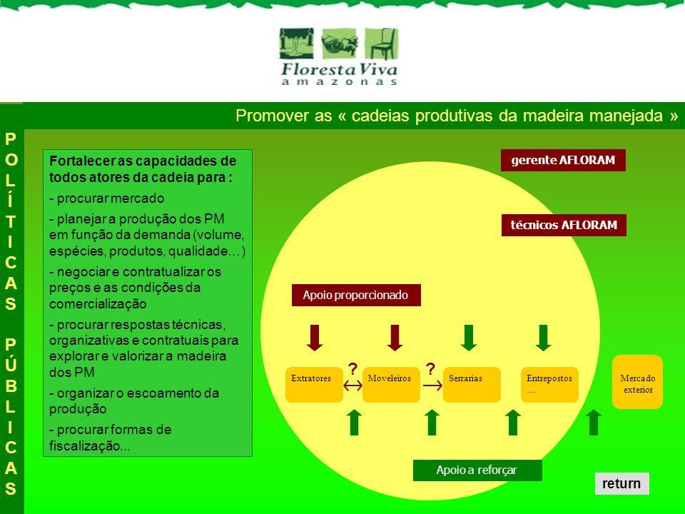 Promover as « cadeias produtivas da madeira manejada » ExtratoresMoveleirosSerrariasEntrepostos … Mercado exterior Fortalecer as capacidades de todos