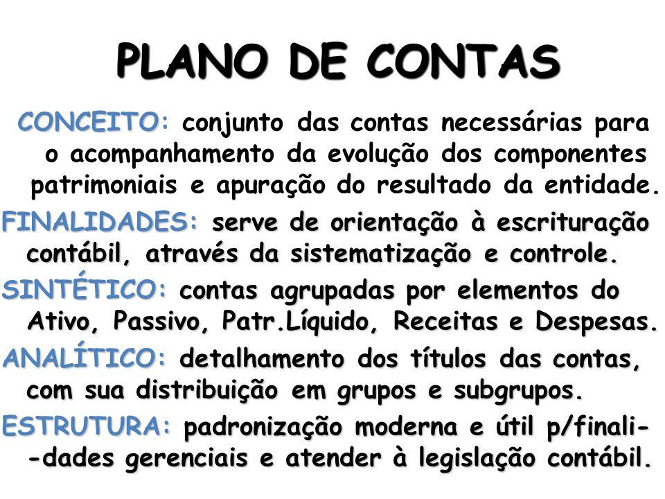 PLANO DE CONTAS CONCEITO CONCEITO: conjunto das contas necessárias para o acompanhamento da evolução dos componentes patrimoniais e apuração do resultado da entidade.