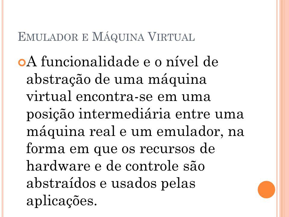 E MULADOR E M ÁQUINA V IRTUAL A funcionalidade e o nível de abstração de uma máquina virtual encontra-se em uma posição intermediária entre uma máquin