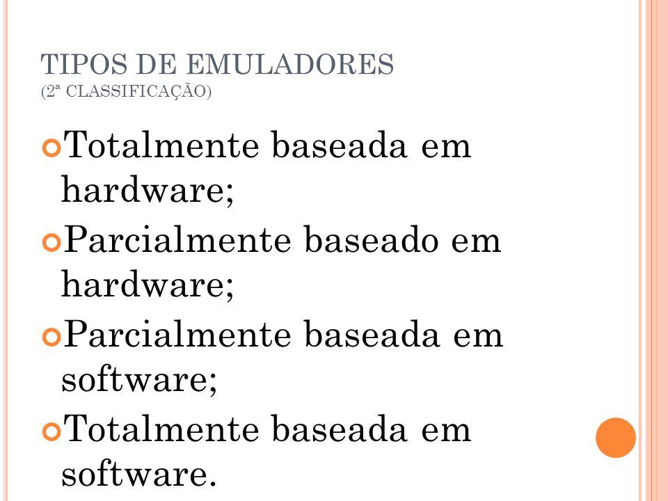 TIPOS DE EMULADORES (2ª CLASSIFICAÇÃO) Totalmente baseada em hardware; Parcialmente baseado em hardware; Parcialmente baseada em software; Totalmente
