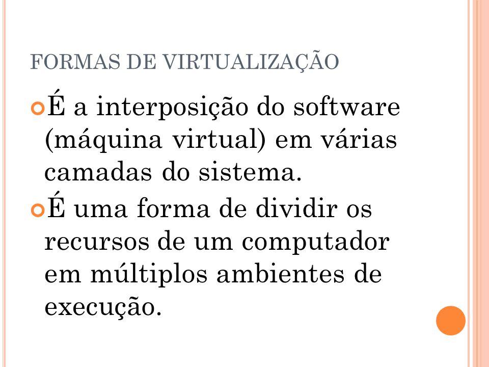 FORMAS DE VIRTUALIZAÇÃO É a interposição do software (máquina virtual) em várias camadas do sistema. É uma forma de dividir os recursos de um computad