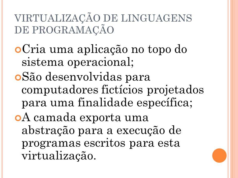 VIRTUALIZAÇÃO DE LINGUAGENS DE PROGRAMAÇÃO Cria uma aplicação no topo do sistema operacional; São desenvolvidas para computadores fictícios projetados